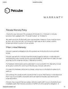 Petcube Play Warranty Information