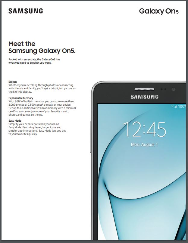 Walmart Family Mobile Samsung Galaxy On5 4G LTE Prepaid Smartphone