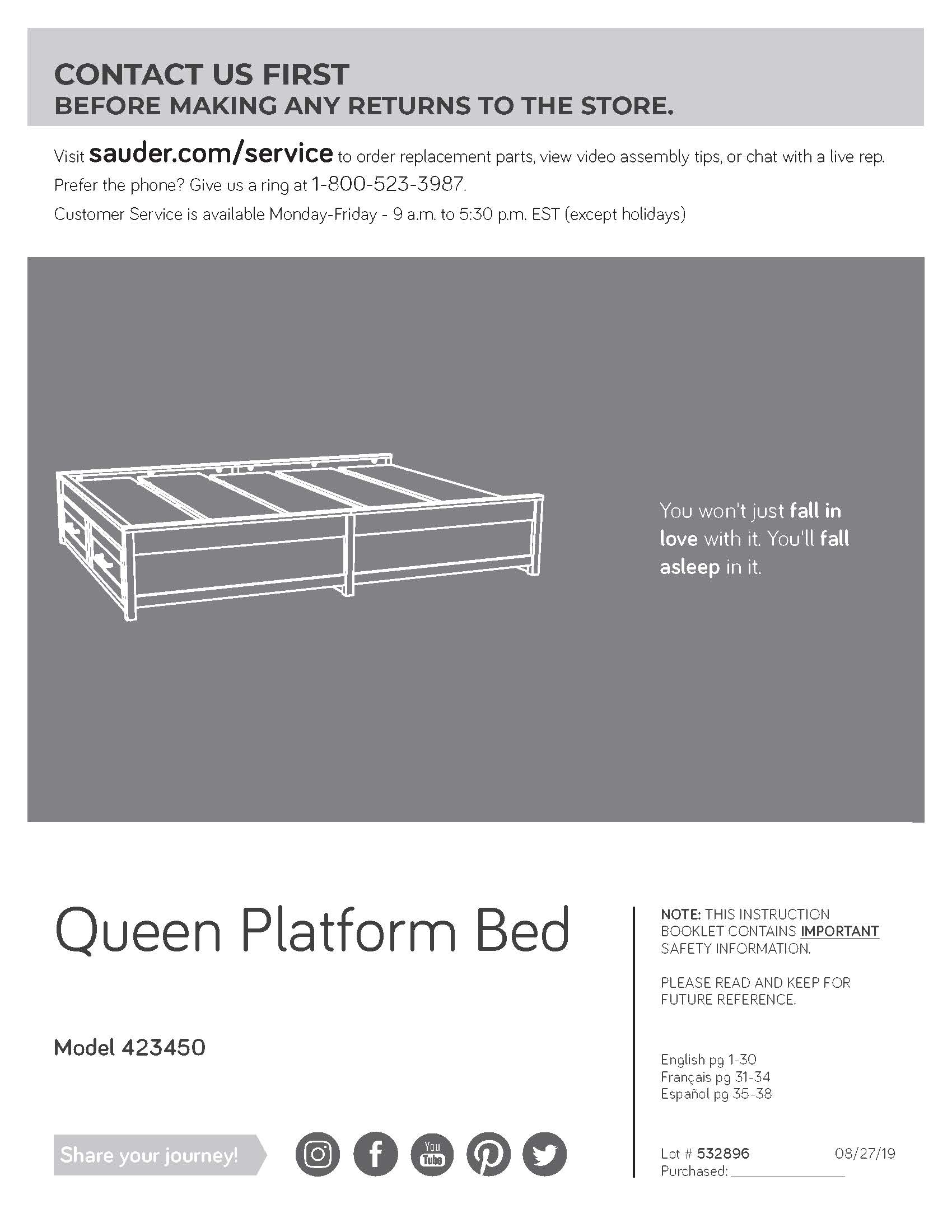 Modern Farmhouse Queen Platform Bed Assembly Manual
